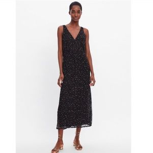 Zara dress black medium open weave with slip